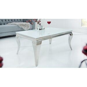 gdegdesign Table basse baroque rectangulaire plateau verre blanc - Zita - Publicité