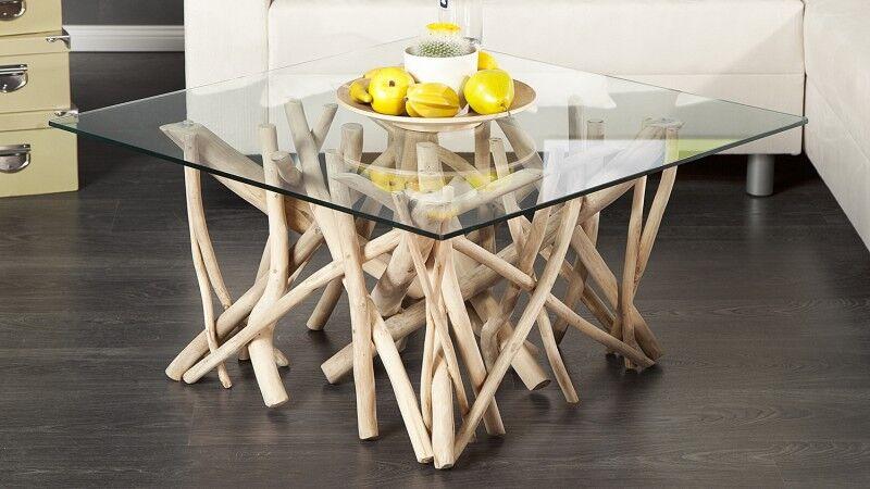 gdegdesign Table basse bois flotté avec plateau verre carré - Clay