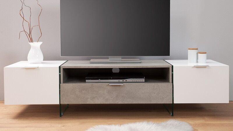 gdegdesign Meuble TV béton laqué blanc mat 2 portes + 1 tiroir - Solna