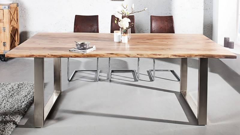 gdegdesign Table à manger rectangulaire bois d'acacia massif 160 cm - Lawson