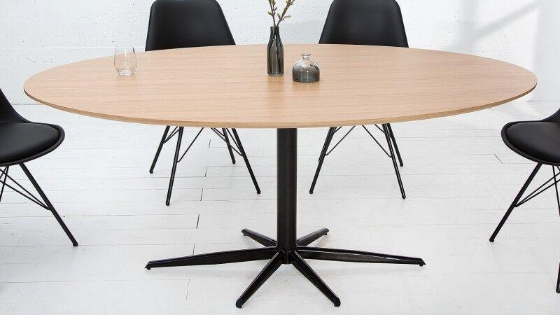 gdegdesign Table à manger industriel ovale bois et métal 170 cm - Rhys