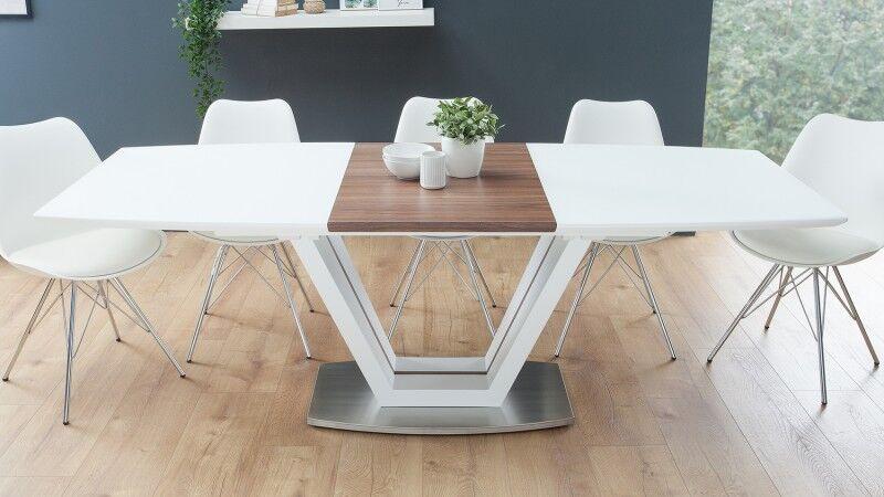 gdegdesign Table à manger extensible laqué blanc mat et bois 160 220 cm - Onnig