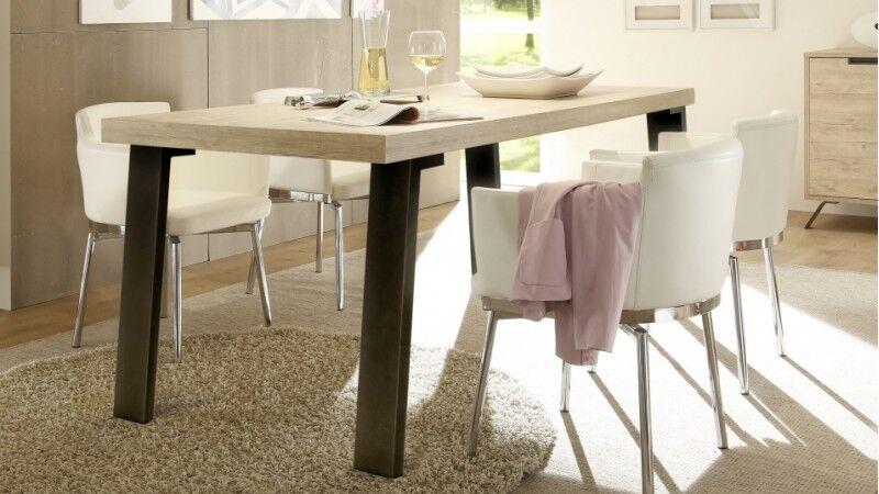 gdegdesign Table à manger rectangulaire bois clair et métal - Vram