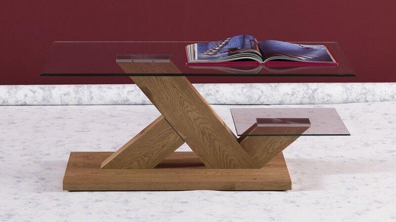 gdegdesign Table basse en verre et bois double plateau - Penza