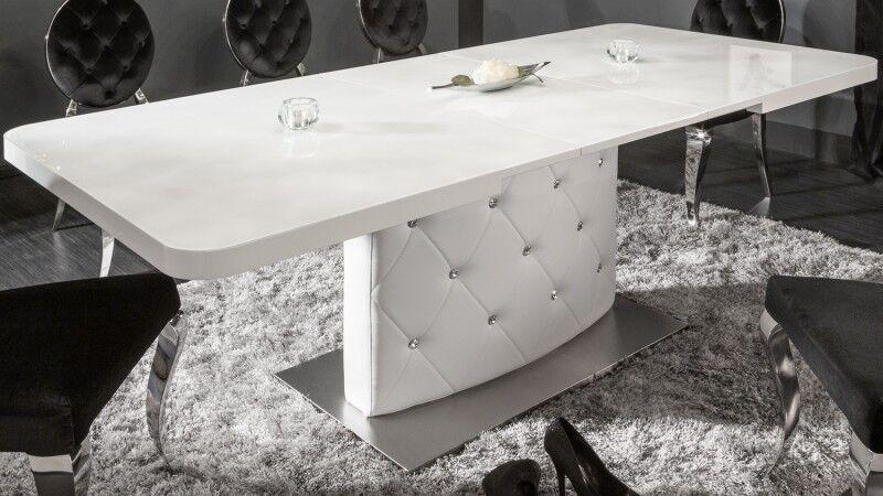gdegdesign Table à manger strass extensible verre laqué blanc 160 200 cm - Klaudia