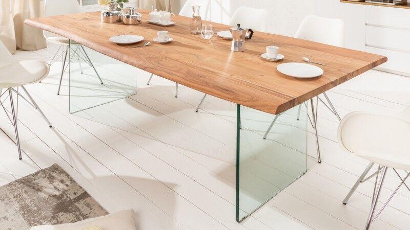 gdegdesign Table à manger rectangulaire bois d'acacia massif et verre 200 cm - Jaden