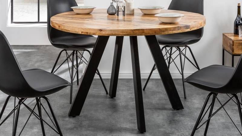 gdegdesign Table à manger ronde industriel bois 120 cm - Davis