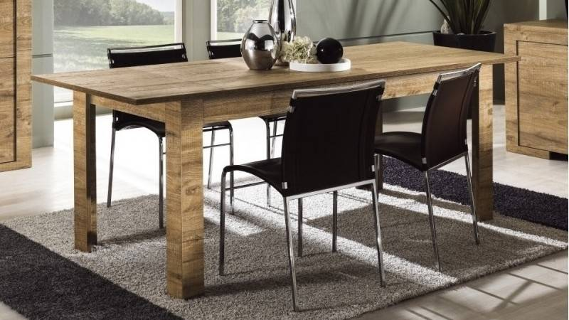 gdegdesign Table à manger bois rallonge 180 cm - Karel