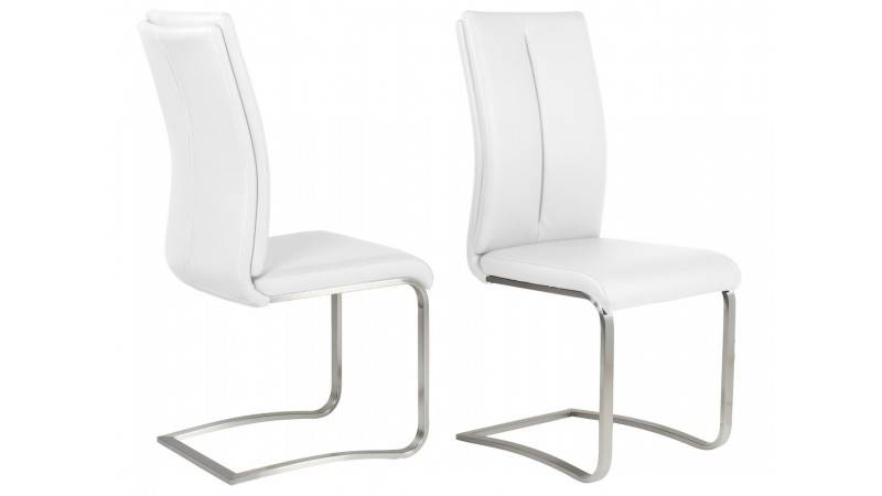 gdegdesign Chaise design simili cuir blanc et métal brossé - Milano