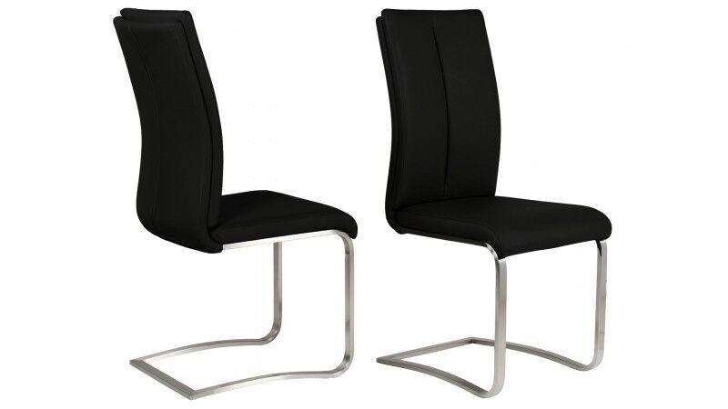 gdegdesign Chaise design simili cuir noir et métal brossé - Milano