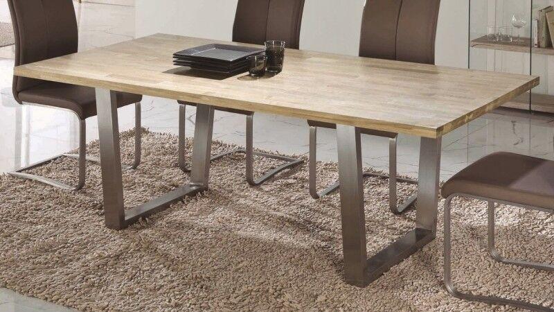 gdegdesign Table à manger rectangulaire bois de chêne massif 200 cm - Dohan