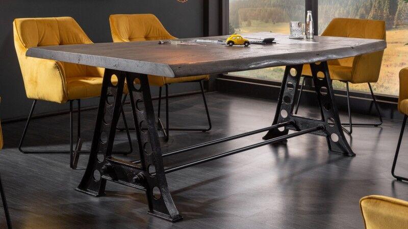 gdegdesign Table à manger industriel bois et métal 220 cm - Adam
