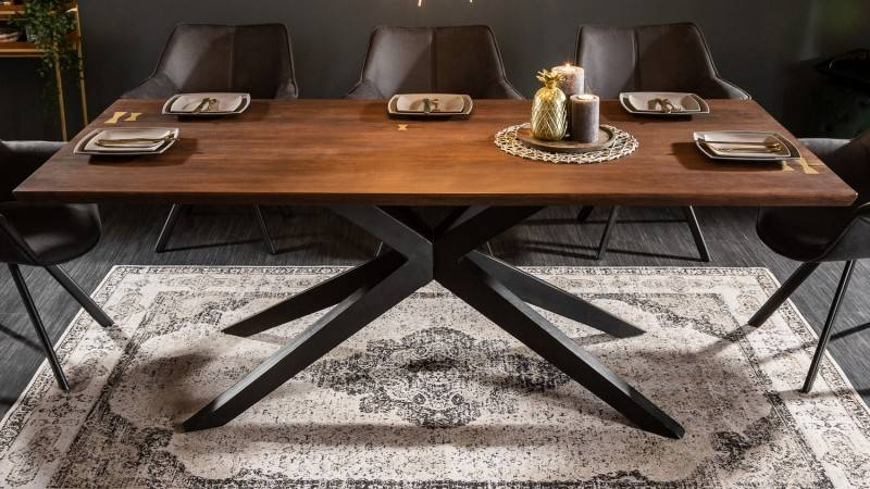 gdegdesign Table à manger industriel bois et métal 200 cm - Nara