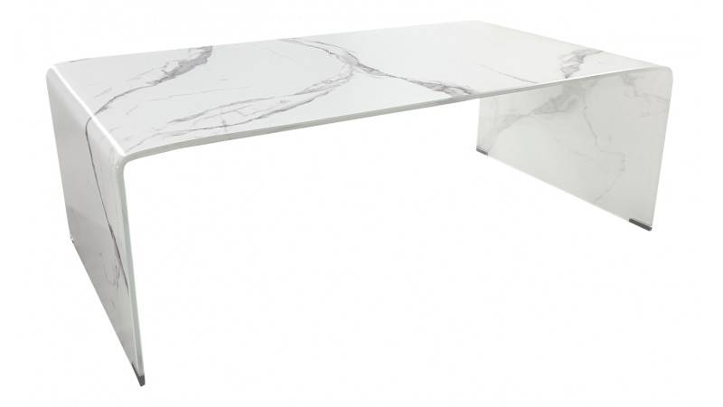 gdegdesign Table basse en verre imitation marbre blanc - Kingston