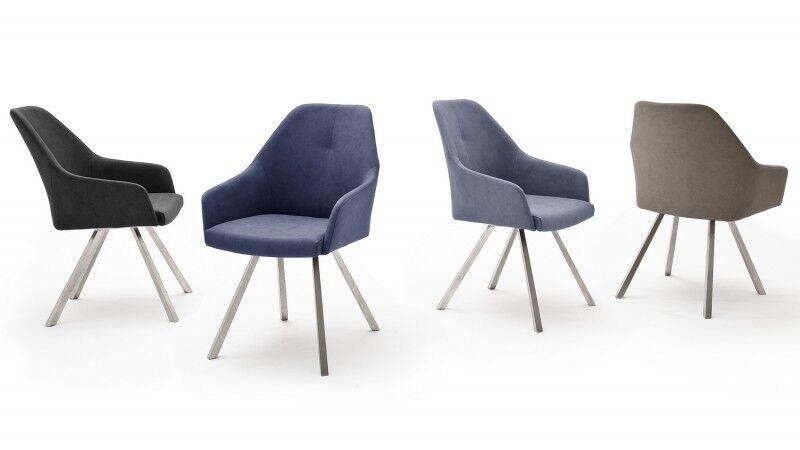 gdegdesign Chaise design accoudoirs simili cuir et piétement inox brossé - Thor