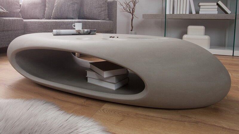 gdegdesign Table basse ovale galet béton gris fibre de verre - Orono