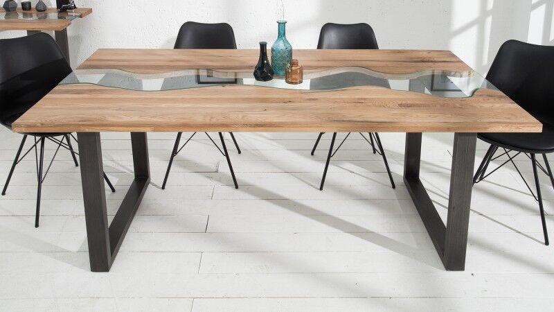 gdegdesign Table à manger rectangulaire bois de chêne massif 200 cm et verre - Rome