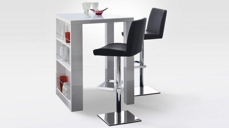 gdegdesign Bar design table haute carré laqué blanc et verre - Joe