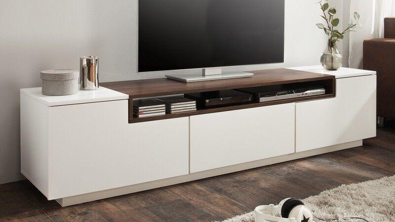 gdegdesign Meuble TV blanc mat et bois 2 portes + 1 tiroir - Kigali