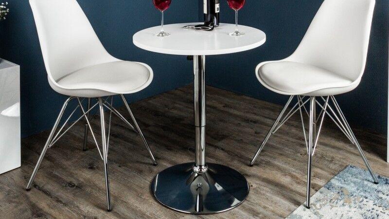 gdegdesign Table haute de bar ou mange debout blanc avec piétement métal chromé - Izola