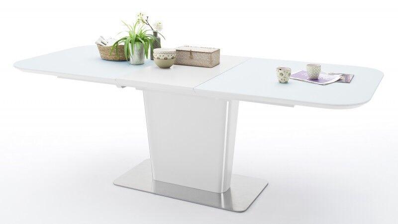 gdegdesign Table à manger extensible laquée blanche matte et verre - Roald