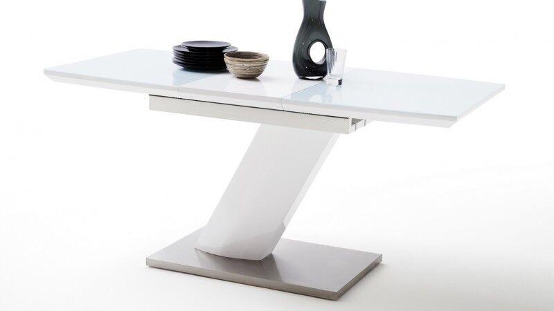 gdegdesign Table à manger extensible laquée blanc brillant et verre - Rory