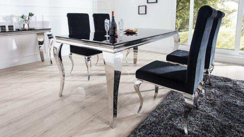 gdegdesign Table à manger baroque rectangulaire plateau verre noir 200 cm - Zita