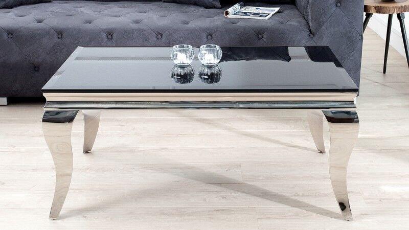 gdegdesign Table basse baroque rectangulaire plateau verre noir - Zita
