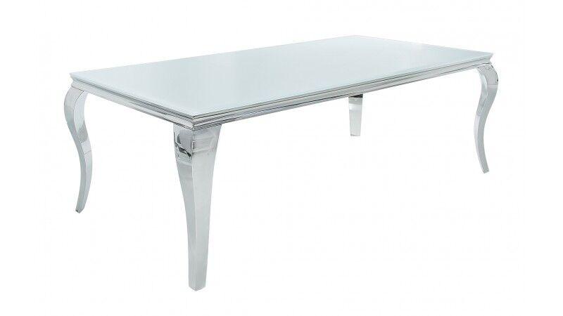 gdegdesign Table à manger baroque rectangulaire plateau verre blanc 200 cm - Zita