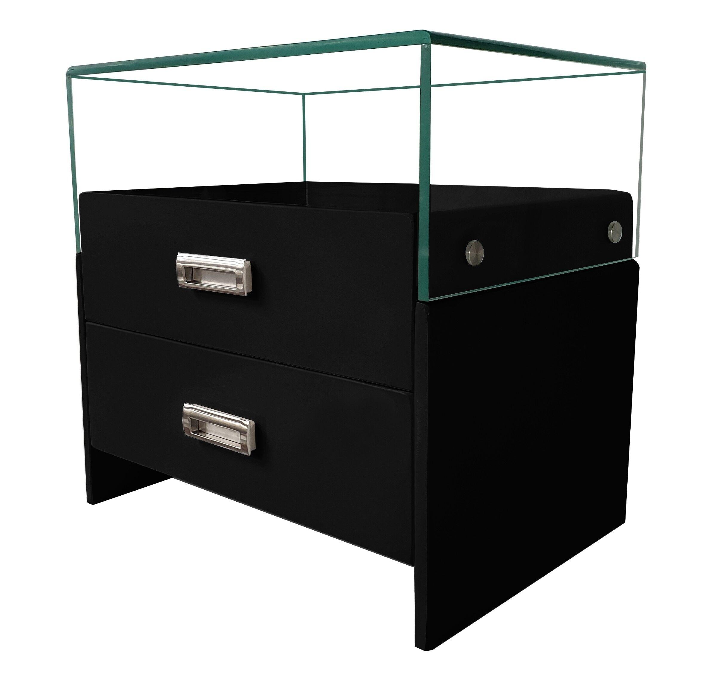 gdegdesign Chevet design bois massif peint noir et verre 2 tiroirs - Jonas