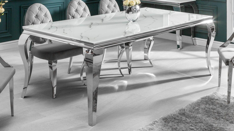gdegdesign Table à manger baroque rectangulaire plateau verre marbre blanc 200 cm - Zita