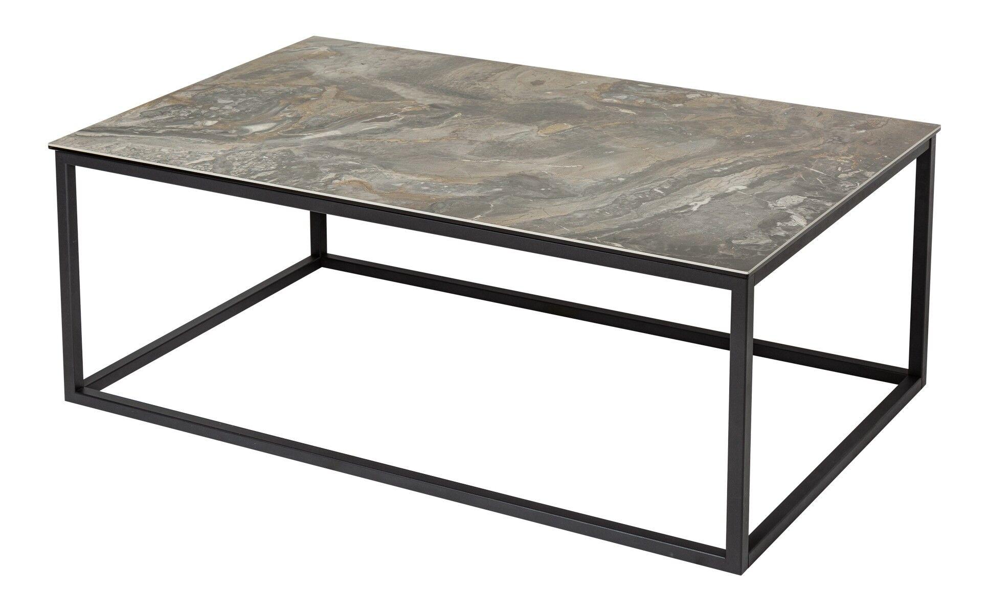 gdegdesign Table basse rectangle plateau verre et céramique pierre foncée - Baldo
