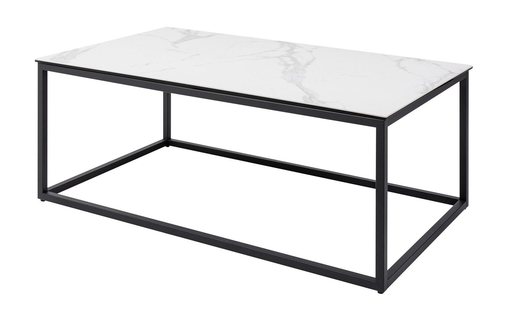 gdegdesign Table basse rectangle plateau verre et céramique marbre blanc - Baldo