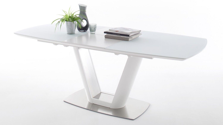 gdegdesign Table à manger extensible laquée blanche matte et verre 160 210 cm - Borja