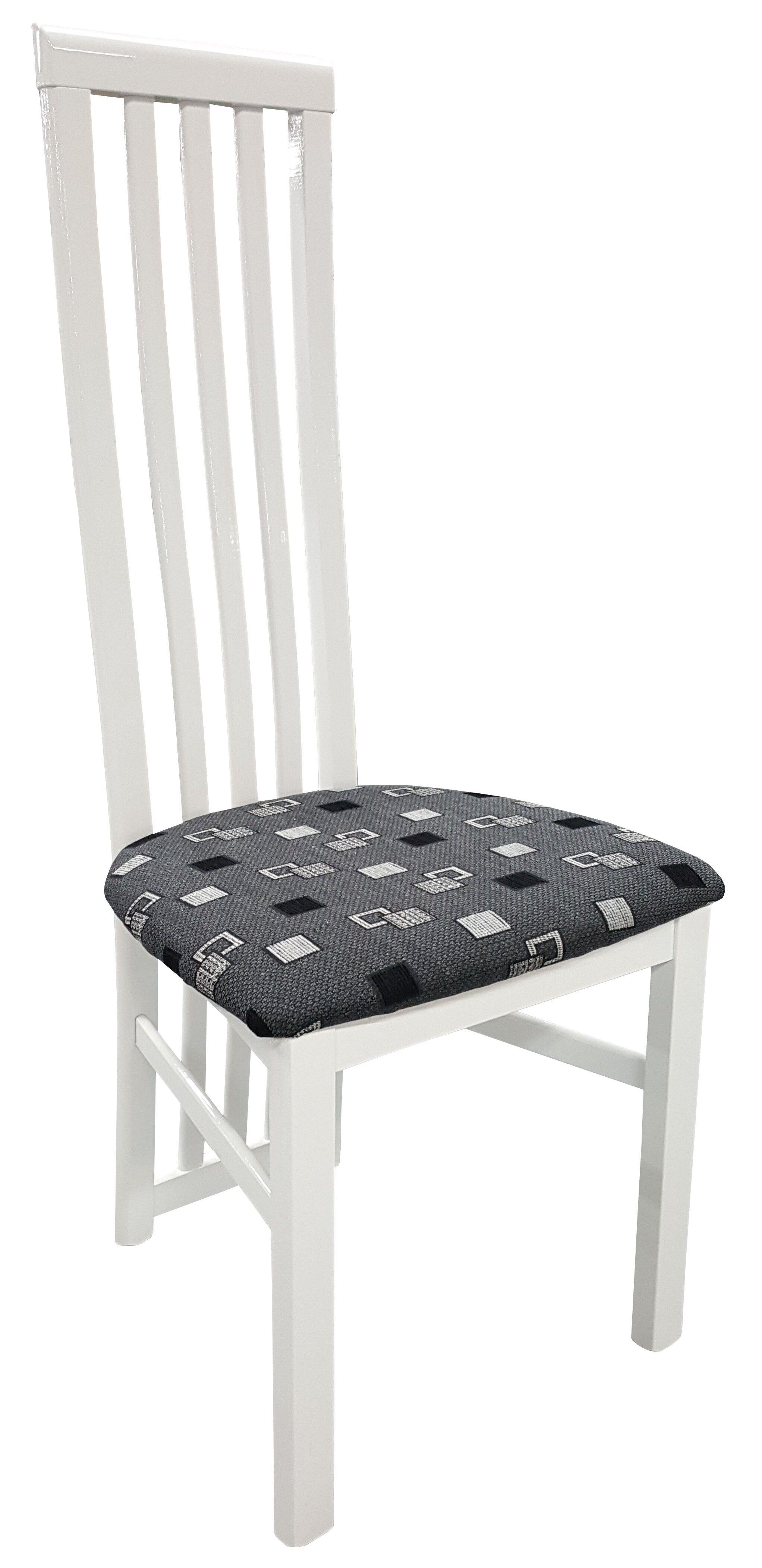 gdegdesign Chaise design bois laqué blanc et tissu à motifs - Orson