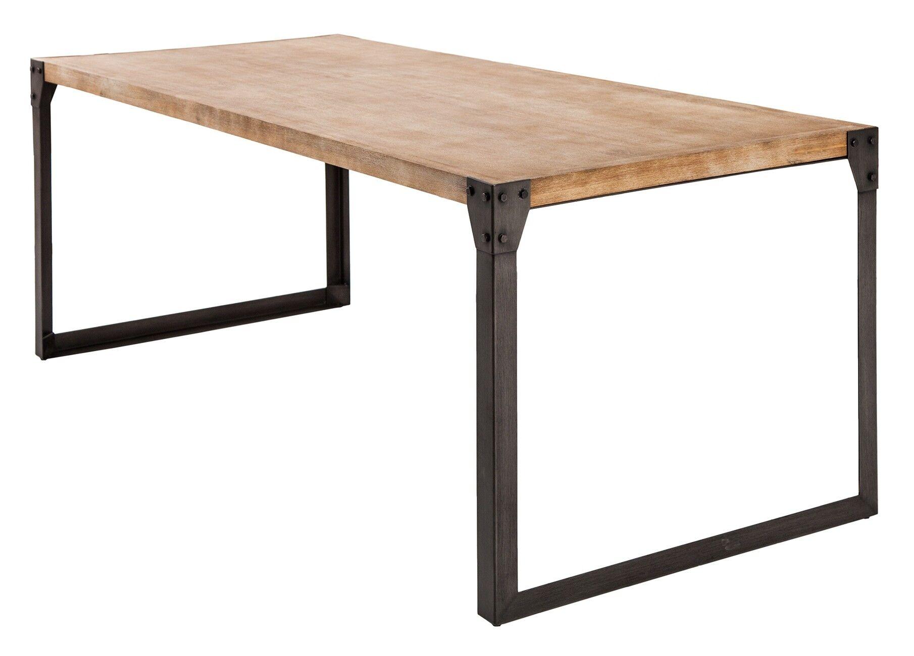 gdegdesign Table à manger industriel bois et métal 200 cm - Jorg