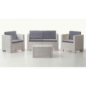 gdegdesign Salon de jardin 2+1+1 blanc et gris résine tressée avec table basse - Orlando - Publicité
