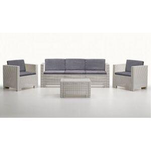 gdegdesign Salon de jardin 3+1+1 blanc et gris résine tressée avec table basse - Orlando XL - Publicité
