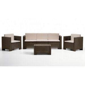 gdegdesign Salon de jardin 3+1+1 marron et beige résine tressée avec table basse - Orlando XL - Publicité