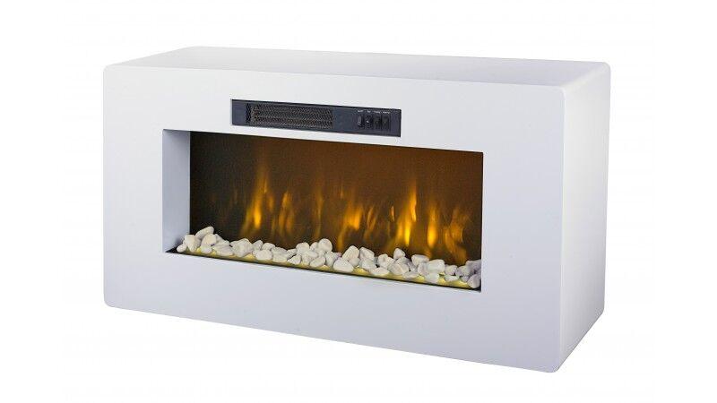 gdegdesign Meuble TV cheminée blanc décoratif lumineux LED - Meribel