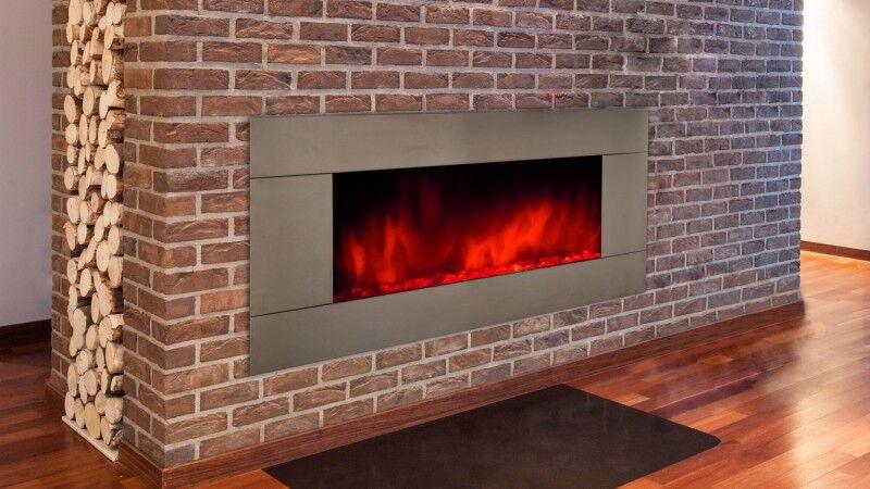 gdegdesign Grande cheminée électrique décorative lumineuse LED inox - Pure XXL