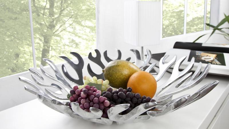 gdegdesign Coupe à fruits design ronde aluminium poli - Hilda