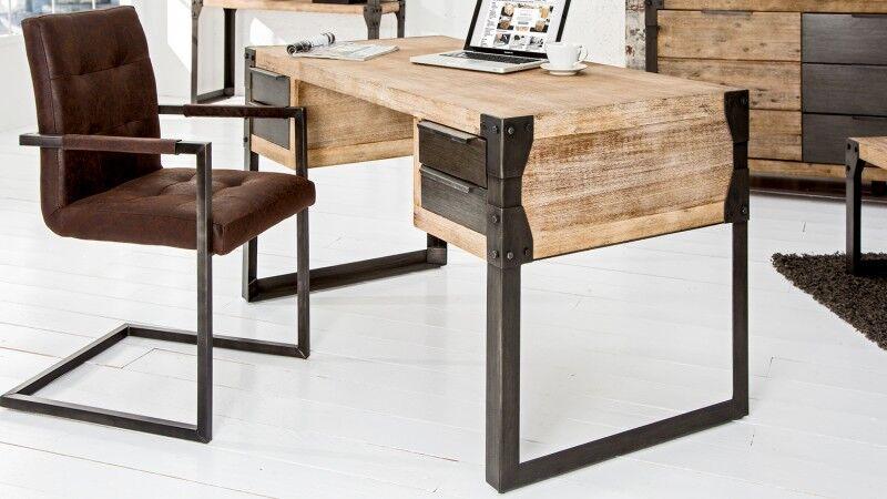 gdegdesign Bureau droit design industriel bois et métal gris anthracite - Jorg