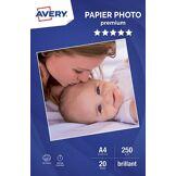 Avery Papier photo Avery 20 Photos brillantes A4 250g/m²