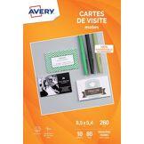 Avery Papier créatif Avery 80 Cartes de visite 85x54mm mates 260g