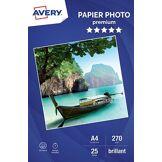 Avery Papier photo Avery 25 Photos brillantes A4 270g