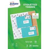 Avery Papier créatif Avery 72 Etiquettes pour timbres 63.5x33.9mm