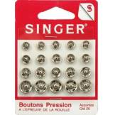 Singer Accessoire couture Singer Boutons pression assorties nickelés