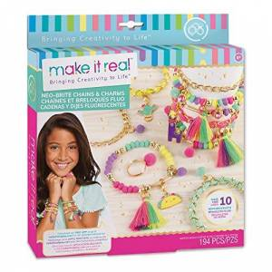 Make It Real Neo-Brite Chains & Charms. Bracelet Making Kit for Girls and Tweens to Create Unique Bracelets, Tassel Charms, Gold Chains, and More - Publicité