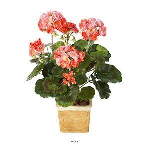 Artificielles.com Geranium Artificiel en Piquet Saumon 33 cm 6 tetes 37 Feuilles Couleur: Rose Saumon - Publicité